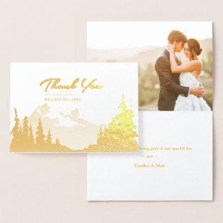 Guld omkullkastar tack för bergbröllopfoto folierat kort
