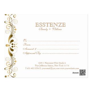 Guld på & blom- snörepresentkort för vit vykort