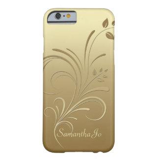 Guld på guld- blommigt virvlar runt fodral för barely there iPhone 6 skal