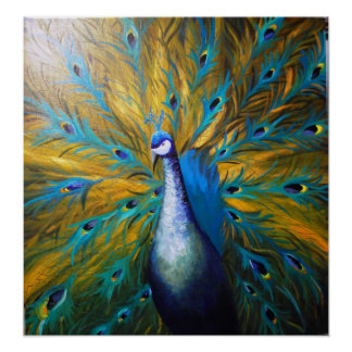 Guld- påfågel! (Kimberly Turnbull konst - akryl) Poster