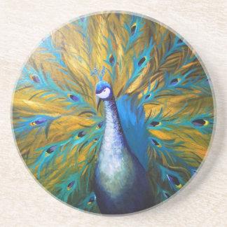 Guld- påfågel! (Kimberly Turnbull konst - akryl) Underlägg Sandsten