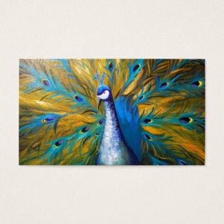 Guld- påfågel! (Kimberly Turnbull konst - akryl) Visitkort