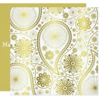 Guld- paisley mönster fyrkantigt 13,3 cm inbjudningskort