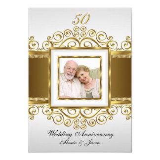 Guld & pärlan virvlar runt årsdaginbjudan för foto 12,7 x 17,8 cm inbjudningskort