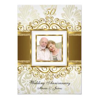 Guld & pärlan virvlar runt damastast årsdag för 12,7 x 17,8 cm inbjudningskort