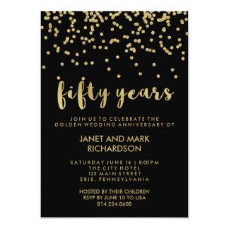 Guld- party för konfettiguldbröllopårsdag 12,7 x 17,8 cm inbjudningskort