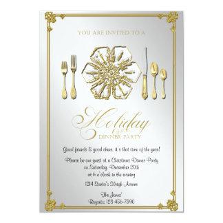 Guld- party för Snowflakehelgdagmiddag 12,7 X 17,8 Cm Inbjudningskort