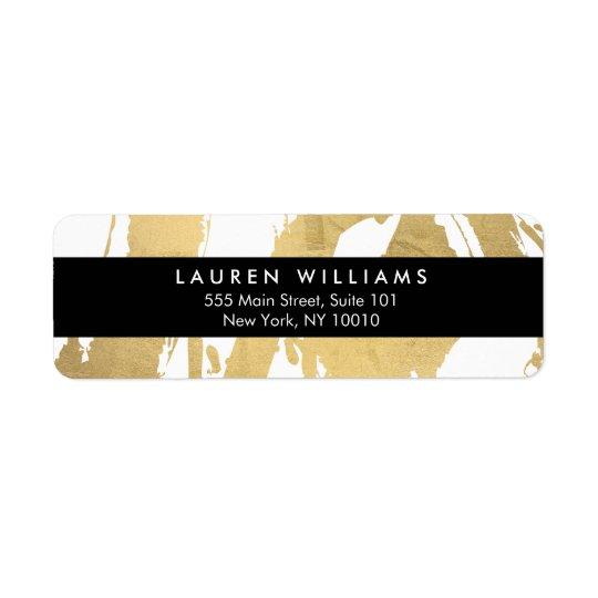 Guld- penseldrag för abstrakt Faux på vit Returadress Etikett