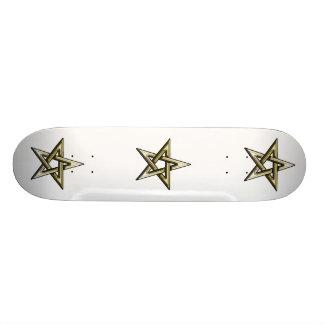Guld- Pentagram för klassiker Skateboard Bräda 21,5 Cm