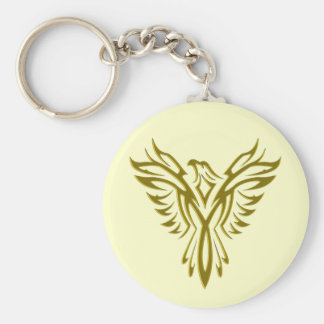 Guld- Phoenix resningkeychain Rund Nyckelring