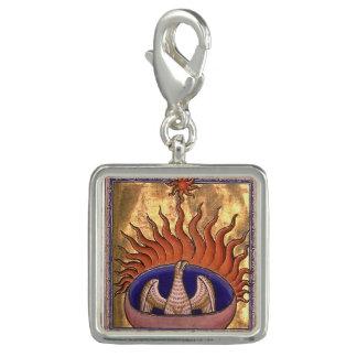 Guld- Phoenix som stigning från askaen Foto Berlocker
