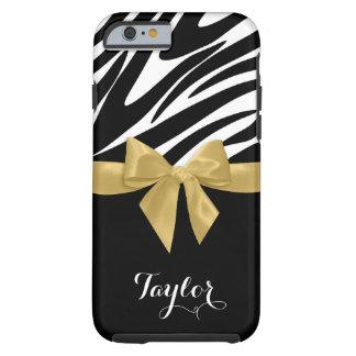 Guld- pilbåge för zebra ränder med namn tough iPhone 6 case