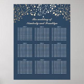 Guld- placering för brudslöjamarinbröllop poster