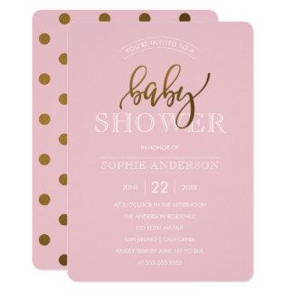 Guld- polka dots på pastellfärgad baby shower för 12,7 x 17,8 cm inbjudningskort