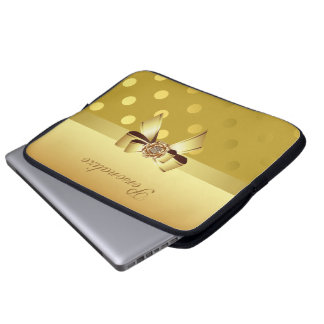 Guld- polka dots-, pilbåge- & diamantpersonlig laptop sleeve