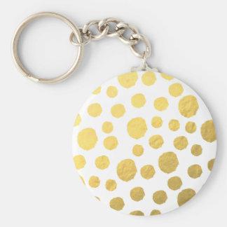 Guld- polka dots rund nyckelring