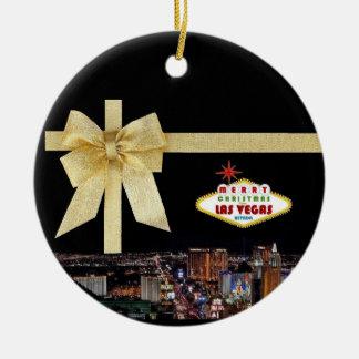 Guld- prydnad för bandLas Vegas jul Julgranskulor