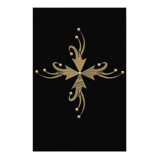 Guld- prydnadar på svart bakgrund brevpapper