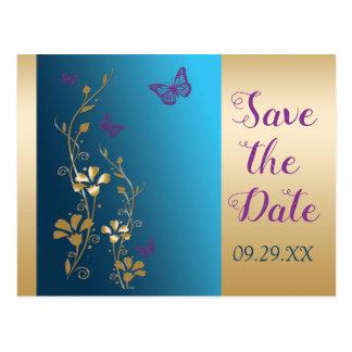 Guld- purpurfärgad fjärilsspara för kricka vykort