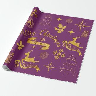 Guld- & purpurfärgad julsjal för personligvintage presentpapper