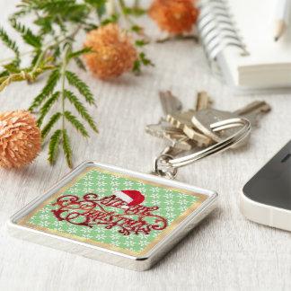 GULD- RAM Keychain för Snowflakejulhatt Fyrkantig Silverfärgad Nyckelring