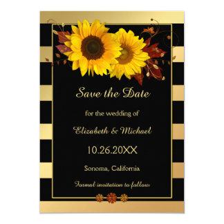 Guld- randig solrosfotospara daterakortet 12,7 x 17,8 cm inbjudningskort