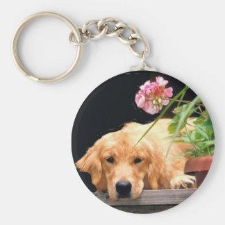 Guld- Retriever Keychain med blomman Rund Nyckelring