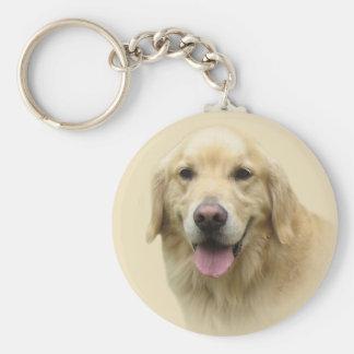 Guld- Retriever Keychain Rund Nyckelring