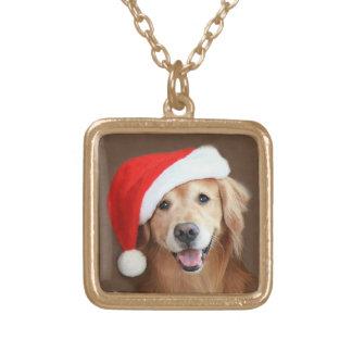 Guld- Retriever med den Santa hatten Guldpläterat Halsband