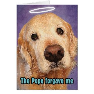 Guld- Retriever som förlåtas av Pope Ursäkt Hälsningskort