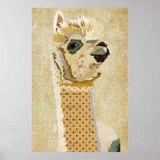 Guld- Retro Alpacakonstaffisch Poster