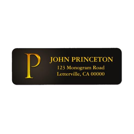Guld- returetiketter för färgMonogram P Returadress Etikett