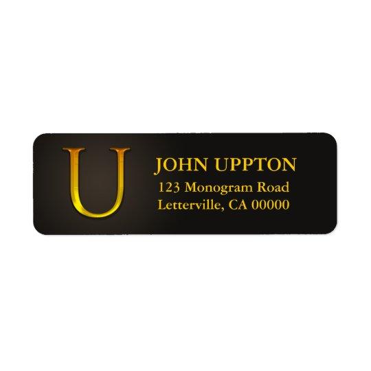 Guld- returetiketter för färgMonogram U Returadress Etikett