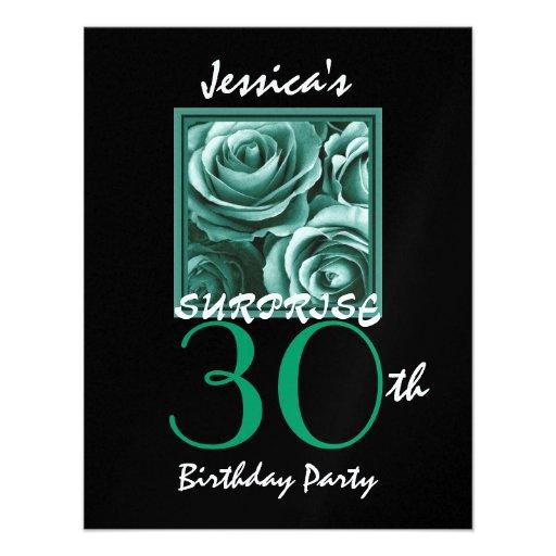 Guld- ro S517 för ÖVERRRAKNING30års födelsedagpart Skräddarsydda Inbjudan