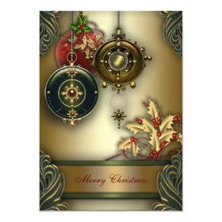 Guld- röd grön juljulfest 12,7 x 17,8 cm inbjudningskort