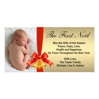 Guld- röd Klockor baby första kort för foto för Fotokort Mall