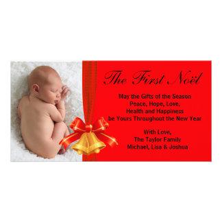 Guld- röd Klockor baby första kort för foto för ju Fotokort