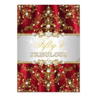 Guld- röd pärlemorfärg damast femtio och sagolik 12,7 x 17,8 cm inbjudningskort