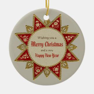 Guld- röd vintage CC0963 för Victorianjulstjärna Julgransprydnad Keramik