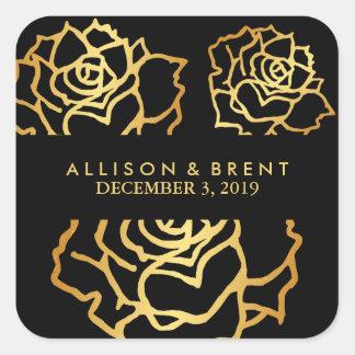 Guld- roklistermärke - svart fyrkantigt klistermärke