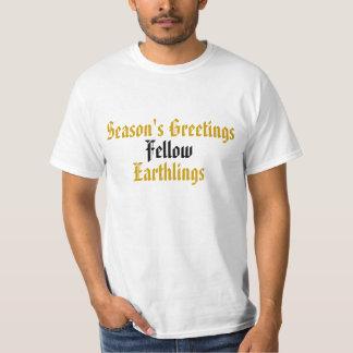 """Guld- rolig helgdaggod jul """"för med- Earthlings"""" Tshirts"""