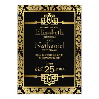 Guld- romansk 20-talart déco som gifta sig 12,7 x 17,8 cm inbjudningskort