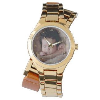 Guld- romerska tal för Faux & beställnings- foto Armbandsur