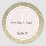 Guld- rosa bröllopMonogram för glitter & för Rund Klistermärke
