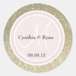 Guld- rosa bröllopMonogram för glitter & för Runt Klistermärke