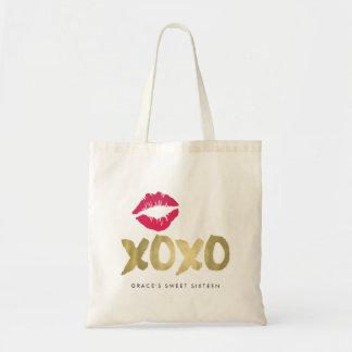 Guld- & rosa läppar för XOXO-Faux Tygkasse