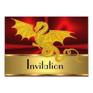 Guld- rött år av drakeinbjudan 12,7 x 17,8 cm inbjudningskort