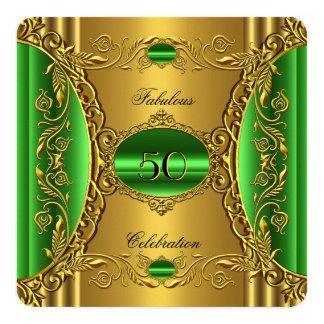 Guld- sagolik 50th födelsedag för fyrkantigt 13,3 cm inbjudningskort