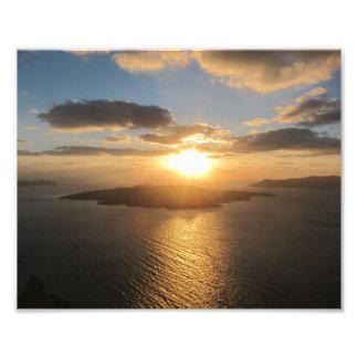 Guld- Santorini solnedgång Fototryck