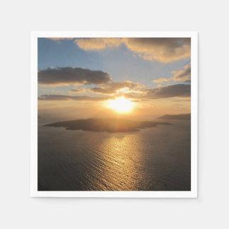 Guld- Santorini solnedgång Pappersservetter